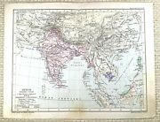 1879 Antique Polish Map Of India The Indian Sub Continent Asia China Burma Old
