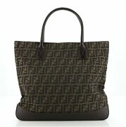 Fendi Vintage Open Tote Zucca Canvas With Leather Large