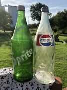 Vintage Green Sprite Bottle And Pepsi 32oz From The 1960'sglass With Original Lid