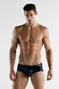 Code 22 Metallic Lace Look Mens Swim Brief With Power Padded Pouch Enhancement