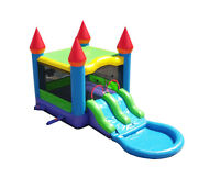 Pogo Dual Lane Inflatable Bounce House Water Slide Pool With Blower Blue Rainbow