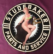 Vintage Style Studebakerandrdquoparts Andserviceandrdquo Hot Pinup Porcelain Sign 12 Inches