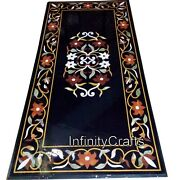 30 X 60 Inches Marble Coffee Table Top Floral Design Inlaid Patio Table For Lawn