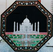 48 Inches Marble Dinette Table Top Taj Mahal Replica Inlaid Patio Table For Lawn