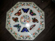 White Marble Beautiful Multi Inlay Wall Tile Butterfly Art Collectible Home Deco