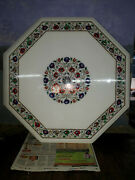Collectible White Marble Center Coffee Table Multi Precious Floral Inlay Decors