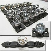 Antique Style Drawer Pulls Lot Cast Iron Glass Crystal Cabinet Knobs Pulls 20pcs