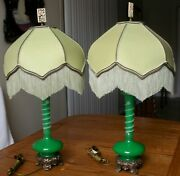 Pair Of Vintage Carder Steuben Green Jade And Alabaster Lamps On A Bronze Base 26