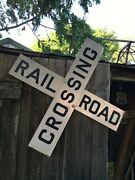 Large Vintage Railroad Train Crossing Gas Oil 48 Metal 2 Piece Sign