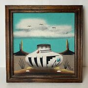 Native American Sand Painting Artbobby Kee Navajo Pottery Monument Valley Vtg