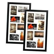 4x6 Black Collage Picture Frames Set Of 2, 8 Openings Matted Collage Frame