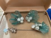 Miriam Haskell Set- Rare- Signed- Sea Glass Pearls Earrings And Pin