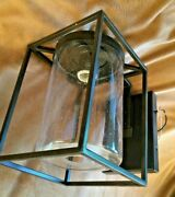 Pottery Barn Garrison Outdoor Sconce Bronze Seeded Antique Glass 13h Wall Light