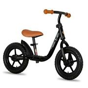 10/12 Kids Balance Bike With Footrest For Girls And Boys Ages 12 Inch Black