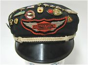Harley-davidson Used Vintage 50and039s Style Cotton Hat With Ama Emblems 7-1/8