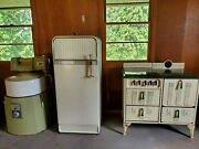 Vintage Antique 1950and039s Frigidaire Refrigerator Good Shape And 2 More Items Read