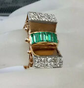 Antique Retro Emerald Diamond Cocktail Ring Scroll Details Solid 14k Rose Gold