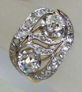 1.2ct Antique Old Euro Cut Twin Diamond Engagement Ring Solid 14k Multi Gold