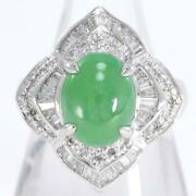 Platinum 900 Ring 12 Size Jade 4.95 Diamond About13.1g Free Shipping Used