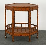 British Colonial Style Faux Bamboo And Grasscloth Occasional Table 1970s