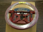 Nos Oem Ford 1992 Mustang Red Leather Wrapped Steering Wheel W/ Cruise Control