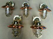 Vintage Brass Salvaged Bulkhead Light With Copper Shade And Junction Box Set Of 5