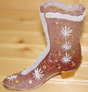 Fenton Boot Empress Rose Daisy Button Hand Painted And Signed Lynn Fenton