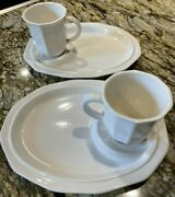 Pfaltzgraff Heritage White Snack Tray Set 2 Plates And Mugs 4 Pieces Total Lot