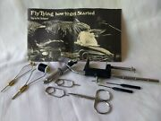 Sunrise Vise Lot Of Fly Tying Tools Hackle Pliers, Scissors, Bobbins And More