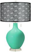 Turquoise Toby Table Lamp With Black Metal Shade