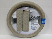 Plush Tan Steering Wheel Cover And Seat Belt Shoulder Pads For Auto-car-truck