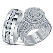 Trio Wedding Ring Sets His Her 14k White Gold Over Round Engagement Bridal Band