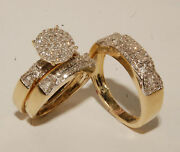 Yellow Gold Over His Her Matching Engagement Band Ring Diamond Trio Wedding Sets