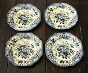 Spode The Archive Collection Blue Rose 4 Luncheon Plates Black And Yellow 9-1/4