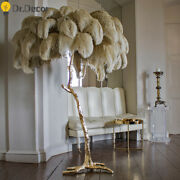 Ostrich Feather Led Floor Lamp For Living Room Modern Interior Light Copper