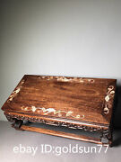 15.7old Chinese Antiques Huanghuali Wood Relief Decoration Inlaid Shell Table