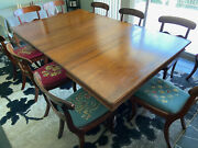 Antique American Empire Style Dining Table With Duncan Phyfe Style Chairs