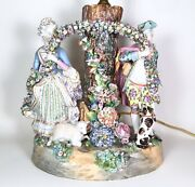 Rare Early Meissen Porcelain Tree Spill Vase W Figures And Flowers 1756-80 Germany