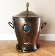 Rare Copper And Brass Ruskin Tile Coal Scuttle / Bucket, Late 19th C Arts And Crafts