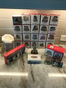 Vintage Large Lot Of Liberty Falls Christmas Buildings And Figurines, Trees