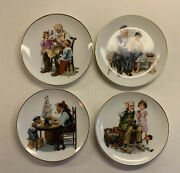 """4 Vtg Norman Rockwell Museum Collection Inc Decorative Plates 4 Art Designs 6"""""""