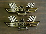 Ford Sohc Crossed Flag Fender Emblems Gold Mustang Fairlane Galaxie Falcon 1969+