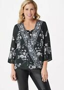 Tolani Collection Floral Printed Twist Front Woven Twinset Black Large A347000