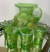 Fenton Apple Tree Pitcher And 4 Tumblers Vintage Artist Signed Green N101