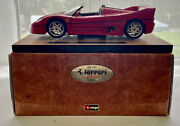 Ferrari F50 Burago Gold 118 Scale Diecast 3712 1995 Red With Solid Stand In Box