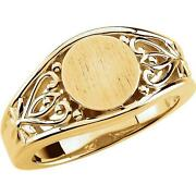 18k Yellow Gold Round Scrollwork Signet Ring
