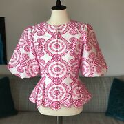 Doncaster Collection Embroidered Puff Sleeve Evening Jacket Top Full Zip Sz 2