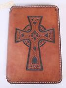 Hand Crafted Tool Leather Bible Concealed Carry Gun Rug Case Cover Celtic Cross