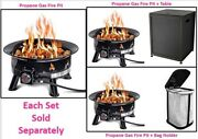Outdoor Propane Gas Fire Pit W Uv And Weather Resistant Durable Cover 24 Diameter