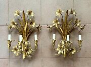 Pair Of Italian Mid Century Hollywood Regency Gilt Toleware Floral Sconces